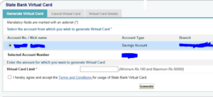 sbi virtual card process