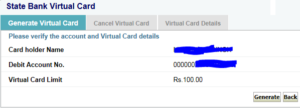 how to make sbi virtual card
